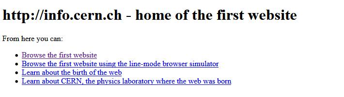 So sah die erste Website aus, die online ging